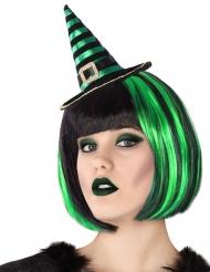 Serre-tête mini chapeau de sorcière rayé noir et vert adulte