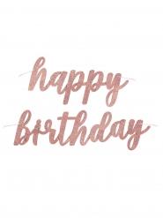 Guirlande en carton happy birthday rose gold pailletée 84 cm