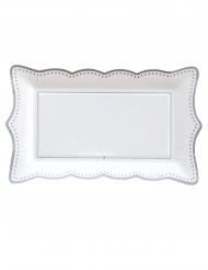 4 Plateaux en carton silver grace blancs et argentés 30 x 18 cm