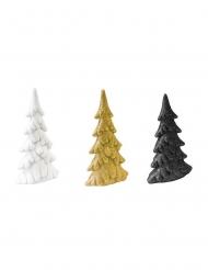 3 Sapins de noël en résine blanc, doré et noir 5 x 4 x 2 cm