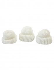 3 Bonnets tricots blancs 3,4 x 1,5 x 3 cm