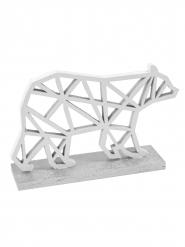 Ours polaire en bois origamique argenté 10 x 6,5 cm