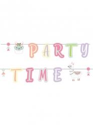 Guirlande lettres en carton Happy Birthday lama party 240 x 12 cm