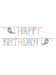 Guirlande Happy Birthday en carton narval party 240 cm