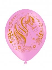 6 Ballons en latex imprimés rose jolie licorne magique 27 cm