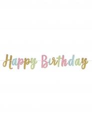 Guirlande lettres pailletées Happy Birthday pastels 365 x 20 cm