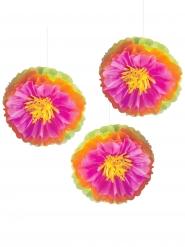 3 Décorations fleurs d'hibiscus multicolores 40 cm