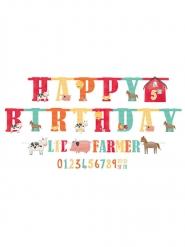 2 Guirlandes en carton Happy Birthday âge personnalisable à la ferme