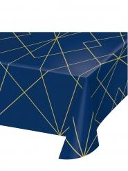 Nappe en plastique marbre bleue et dorée 137 x 259 cm
