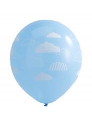 10 Ballons en latex bleus nuages blancs 30 cm
