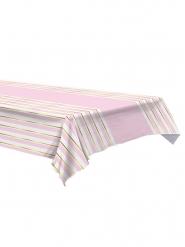 Nappe en plastique à rayures rose et blanche 137 x 274 cm