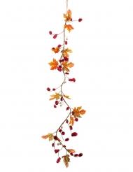 Guirlande d'automne fleurs séchées et feuilles rouges 120 cm