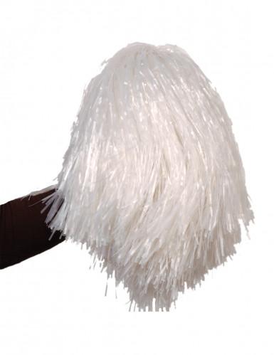 Pompon blanc métallique