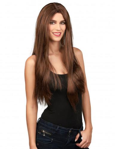 Perruque longue châtain femme