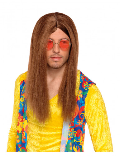 Perruque hippie marron adulte