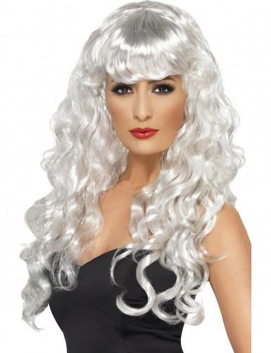 Perruque sirène bouclée blanche femme