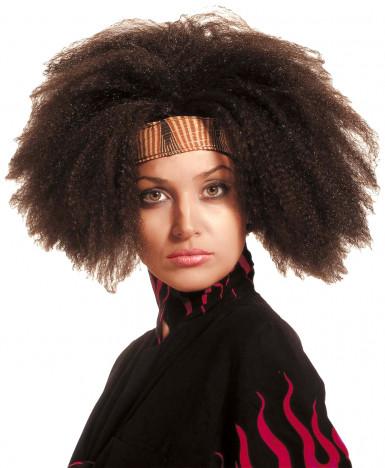 Perruque africaine marron adulte