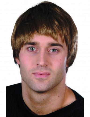 Perruque courte moderne marron homme