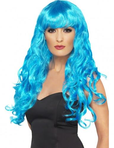Perruque sirène bouclée bleue femme