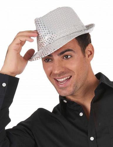 Chapeau borsalino à sequins argent adulte-1