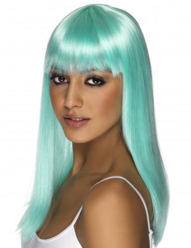 Perruque longue bleue turquoise à frange femme