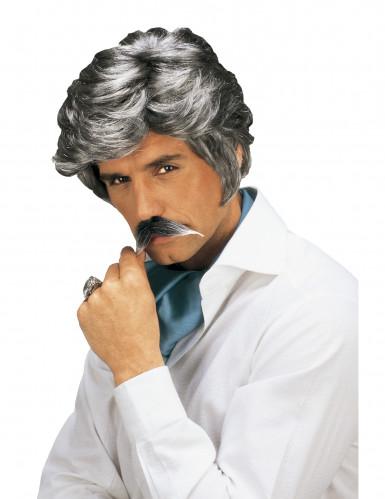 Perruque et moustache Casanova grise homme