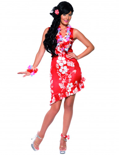 Déguisement hawaïenne rouge femme