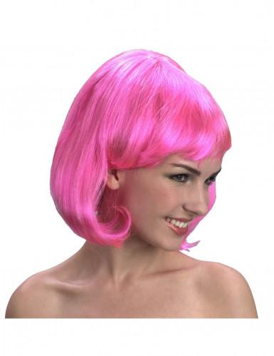 Perruque carré rose fluo femme