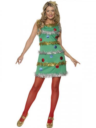 Déguisement sapin avec guirlandes femme Noël