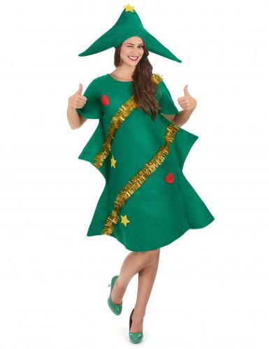 Déguisement sapin décoré humoristique femme Noël