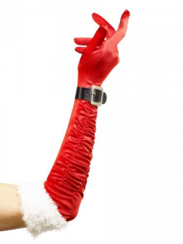 Gants longs mère Noël femme