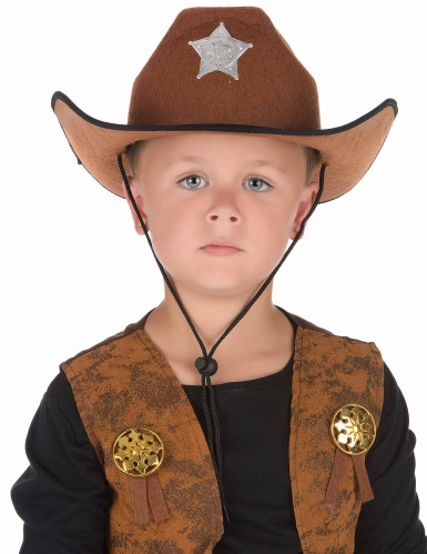 Chapeau sheriff marron enfant-1