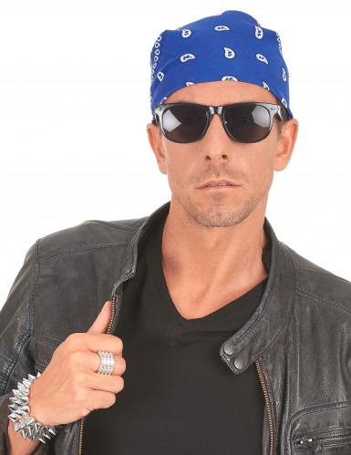 Bandana biker ou cowboy bleu -2