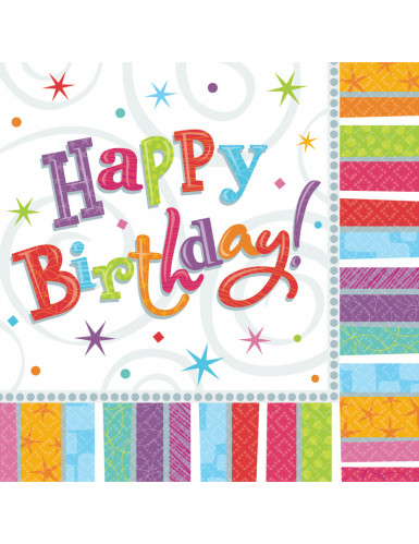 16 Serviettes en papier Happy Birthday coloré 33 x 33 cm