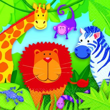 16 Petites Serviettes en papier Jungle enfant 25 x 25 cm