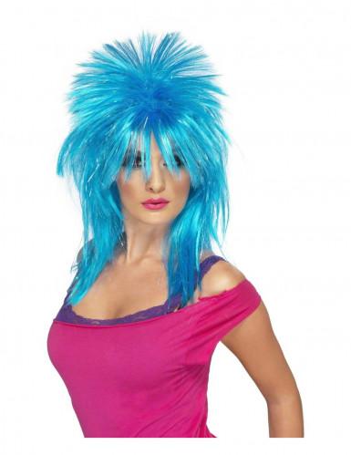 Perruque punk bleu fluo femme