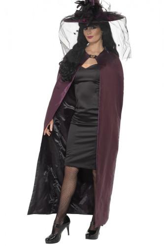 Cape réversible violette ou noire adulte Halloween