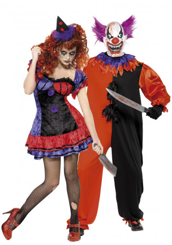 Déguisements de couple clowns terrifiants Halloween