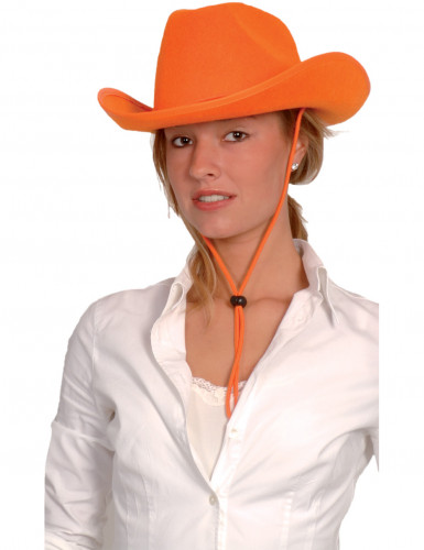 Chapeau cowboy orange adulte