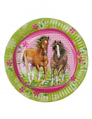 8 Assiettes en carton Chevaux 23 cm-1
