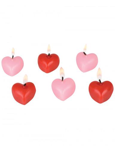6 Petites bougies cœurs