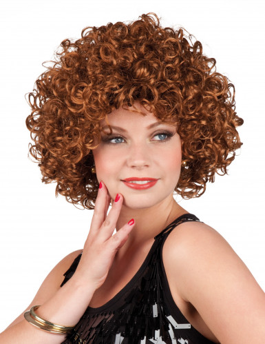 Perruque bouclée marron femme