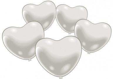 10 Ballons coeur blanc