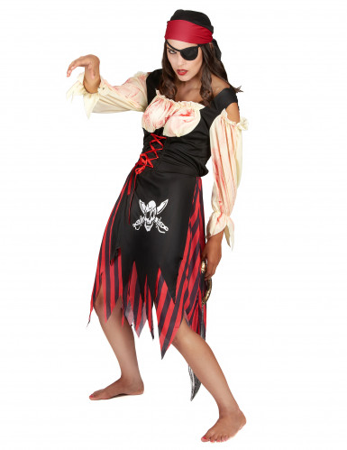 Déguisement pirate zombie adulte Halloween pour femme-1