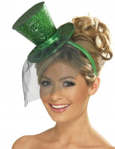 Mini chapeau haut de forme vert  femme