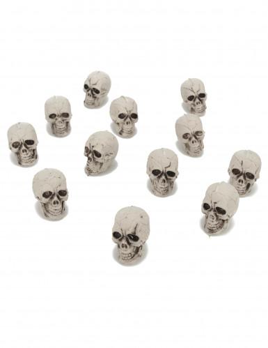 12 Petites têtes de mort plastique