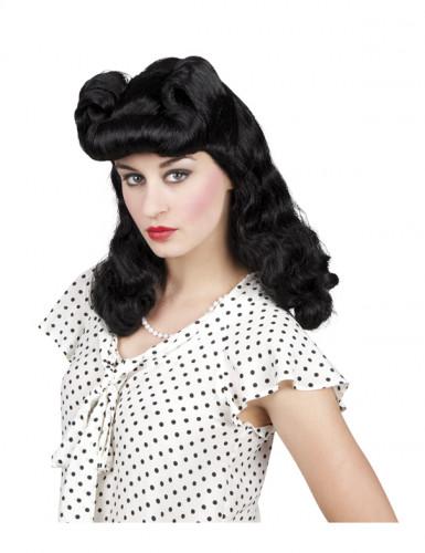 Perruque noire ondulée année 50 femme