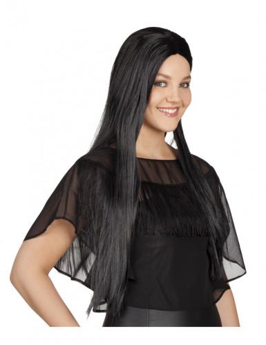 Perruque noire longue femme