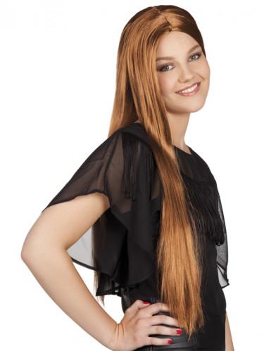 Perruque marron longue femme