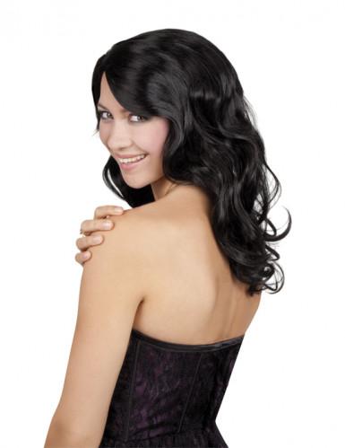 Perruque longue noire ondulée femme